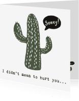 Sorry kaarten - Cactuskaart 'SORRY'