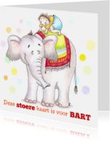 Dierenkaarten - Carlo op de olifant