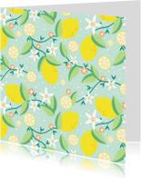 Bloemenkaarten - Citrusboom op groen