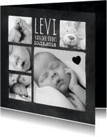 Geboortekaartjes - Collage in zwart wit-isf