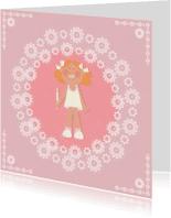 Communiekaarten - Communie meisjeskaart retro