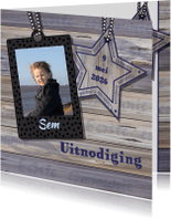 Communiekaarten - Communie stoer hout ster jongen