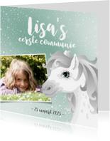 Communiekaarten - Communie wit schimmel paard blauw