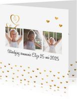 Communiekaarten - Communiekaart foto goud hartjes
