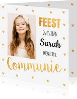 Communiekaarten - Communiekaart foto gouden hartjes