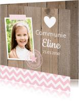 Communiekaarten - Communiekaart foto houtprint meisje