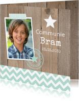 Communiekaarten - Communiekaart foto jongen mint houtprint