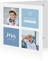 Communiekaarten - Communiekaart foto vierkante vlakken blauw