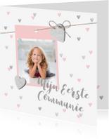 Communiekaarten - Communiekaart hartjes foto lief en hip