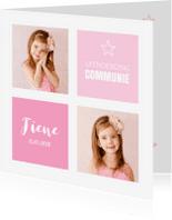 Communiekaarten - Communiekaart meisje foto roze vlakken