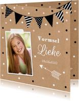 Communiekaarten - Communiekaart meisje kraft foto confetti slinger