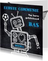 Felicitatiekaarten - Communiekaart robot voetbal