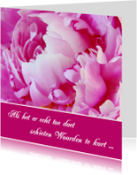 Condoleancekaarten - Condoleance kaart pioenroos