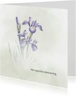 Condoleancekaarten - Condoleance met blauwe Iris