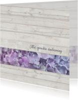 Condoleancekaarten - Condoleance met hout en hortensia