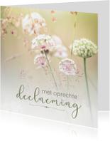 Condoleancekaarten - Condoleance - met oprechte deelneming bloemen 2