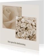Condoleancekaarten - Condoleance met rozen in kaders