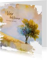 Condoleancekaarten - Condoleance waterverf zomerse boom