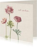 Condoleancekaart met illustratie anemonen