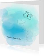 Condoleancekaarten - Condoleancekaart met watercolour en vlinder