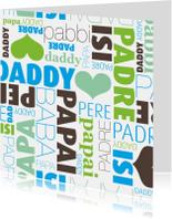 Vaderdag kaarten - Daddy engels frans vaderdag kaartje