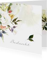 Rouwkaarten - Dankbetuiging met prachtige olieverf bloemen