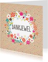 Bedankkaartjes - Dankjewel met stipjes en bloemen