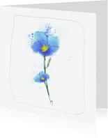 Bloemenkaarten - diepblauw