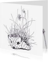 Dierenkaarten - Dierenkaart Grafische Egel Paardenbloem