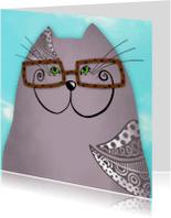 Dierenkaarten - Dierenkaart grijze kat met bril