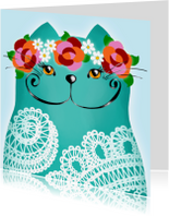 Dierenkaarten - Dierenkaart kat lace