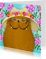 Dierenkaarten - Dierenkaart kat met rozen