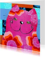 Dierenkaarten - Dierenkaart Kleurrijke kat