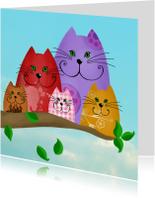 Dierenkaarten - Dierenkaart kleurrijke katten