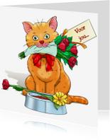 Dierenkaarten - Dierenkaart leuke kat met bloemen en kaartje