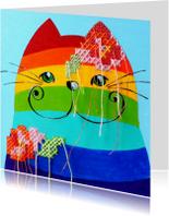 Dierenkaarten - Dierenkaart regenboog kat