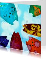 Dierenkaarten - Dierenkaart regenboog katten
