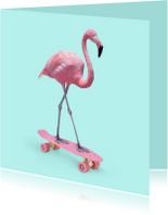 Dierenkaart 'Skate Flamingo'