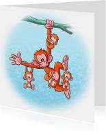 Dierenkaarten - Diertjes  - Apen boomtak