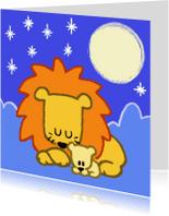 Kinderkaarten - Diertjes - mama en kind leeuw