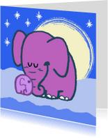 Dierenkaarten - Diertjes - olifanten in de nacht