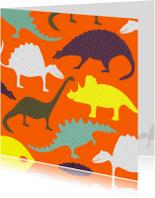 Dierenkaarten - Dinosauriërs oranje