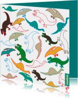 Kinderkaarten - Dinosaurussen in vrolijke kleuren