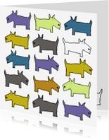 Dierenkaarten - Doggie blauw-oker