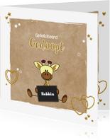 Felicitatiekaarten - Doop girafje hip en glamour