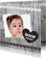 Doopkaarten - Doopkaart Hout Hartjes 1LS3