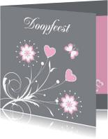 Doopkaarten - Doopkaart meisje bloemen LB