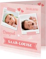 Doopkaarten - Doopkaart roze LB03