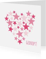 Felicitatiekaarten - Doopkaart roze sterren in hart