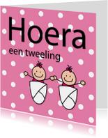 Felicitatiekaarten - Dotjes - tweeling meisjes